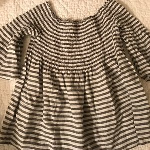 Tops - Linen Black and White Stripe Off-Shoulder Blouse